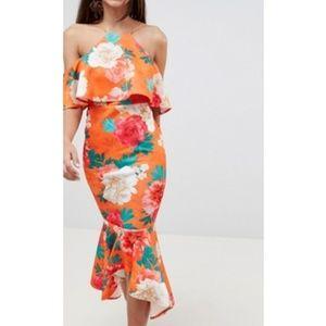 new asos scuba floral ruffle midi dress us 4